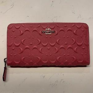 Coach Accordion Zip Wallet Signature Leather
